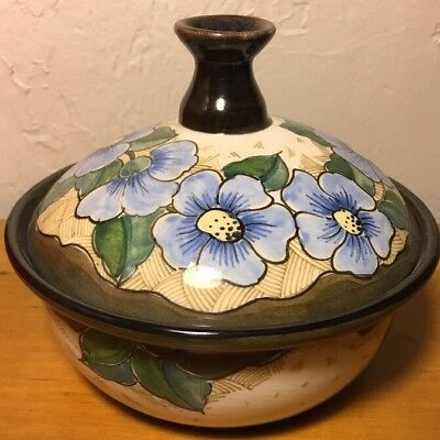 Vintage Beautiful Signed Gouda Holland Pottery Lidded Pot Flowers