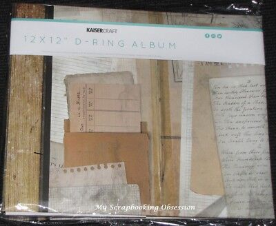 "Kaisercraft 12x12"" D-Ring 'DOCUMENTED' Album +10 Sheets Vintage KAISER"