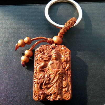 Guanyin Statue Wood Carving Chinese Pendant Key Chain Keyring