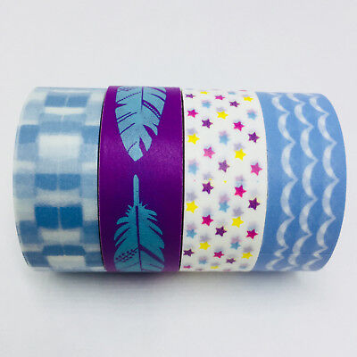 Washi Tape Set Blue & Violet 4 Rolls X 15Mm X 5Mtr Roll Planner Craft Scrap Wrap