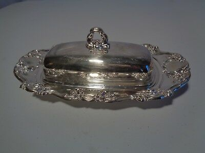 Vintage Towle Old Master Covered Butter w Glass Liner Silverplate Silver 4107