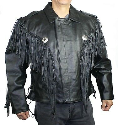 Men Genuine Cow hide Big Sizes Leather Motorcycle Classic Jacket with Fringes