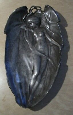 Vintage Art Nouveau Nude Woman Maiden in Metal Footed Leaf Tray