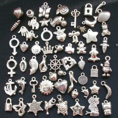 100pcs Wholesale Bulk Lots Silver Mix Plant animal Pendants Charms