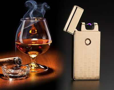 Hot Double No gas Flameless Electric USB Rechargeable Zinc alloy Lighter UJ86