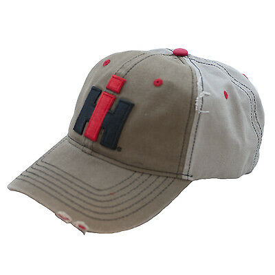 INTERNATIONAL HARVESTER *KHAKI & GREY Distressed Twill* LOGO Hat Cap NEW! IH92