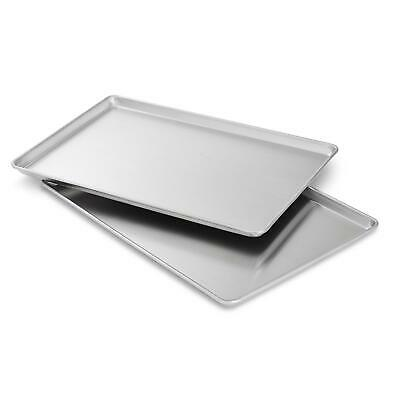 2 Commercial Grade 18 x 13 Half Size Aluminum Sheet Pan for Baking Bread Cookie
