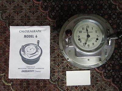 Working Antique Calculagraph Pool Hall Timer Time Clock Model 6 w/ Instructions