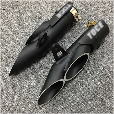 Universal 38-51mm Dual-outlet Exhaust Tail Pipe No Muffler for Motorcycle 350mm