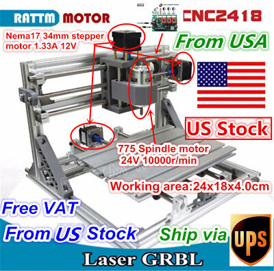 3 Axis 2418 GRBL Control DIY Mini CNC Router Engraving Milling Laser Machine【US】