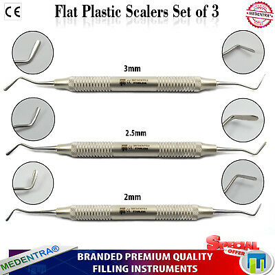 Dental Composite Filling Restorative Flat Plastic Amalgam Placement Tools 3Sizes