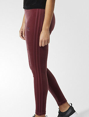 b66980d8f2f8 Adidas Originals Velvet Vibes womens Leggings Maroon 3 stripes trefoil  sports