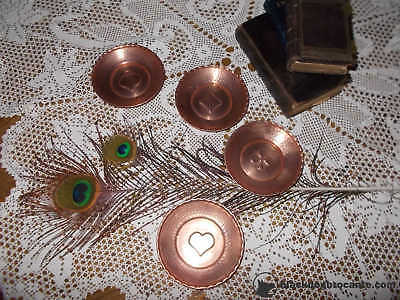 Fabulous Set 4 French Vintage Copper Ashtrays With Deck Cards Symbols Ref T7/98