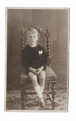 Vintage Portrait Photo Postcard of Young Boy Seated 902D