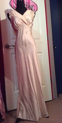 Vintage 1930s Bias Cut Peach Pure Silk Gown Embroidered Negligee S-M Jean Harlow