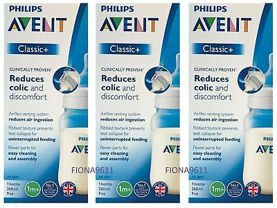 3 Philips Avent Classic+ SCF563/17 260 ml Baby Bottle Proven To Reduce Colic NEW