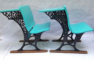 Pair Antique Vintage Cast Iron/Wood School Desks Early 1900s Painted Turquoise