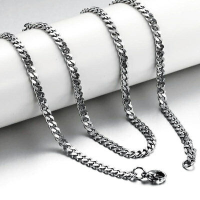 Mens 50cm Stainless Steel Necklace Silver Curb Link Chain 19 inch + Gift Bag