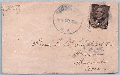 US early cover 1884, Sandy hill, N.Y. to Burma, Sea post office
