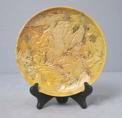 Well  Hand  Carved  Chinese  Shou-Shan  Stone  Plate