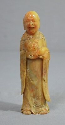 Nice  Carved  Chinese  Shou-Shan  Stone  Louhan  Figure