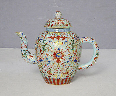 Chinese  Famille  Rose  Porcelain  Teapot  With  Mark     M2277