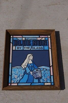Imported Blue Nun Wine by the Glass Bar Glass Sign Vintage Mirror
