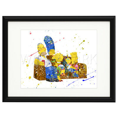 THE SIMPSONS Print Poster Watercolour Framed Canvas Wall Art Gift idea TV