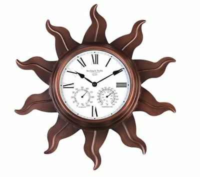 Sterling and Noble Metal Sun Outdoor Vintage Decor Wall Clock with Copper Finish