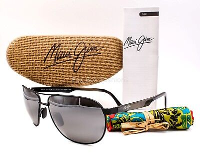 a5ce16e4054f MAUI JIM MJ 728-2M CASTLES Aviator Sunglasses Matte Black~Neutral Gray  POLARIZED