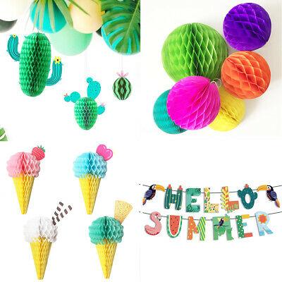 Hawaii Tropical BBQ Party Tissue Garland Honeycomb Decoration Birthday Wedding