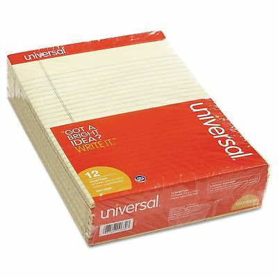 Universal Perforated 12 ct Yellow Writing Legal Letter Note Pads 8.5 x 11 Canary