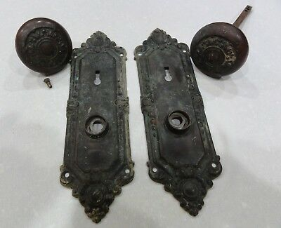 Antique Vintage Set Of Unique Ornate Victorian Brass Door Knobs With Back Plates