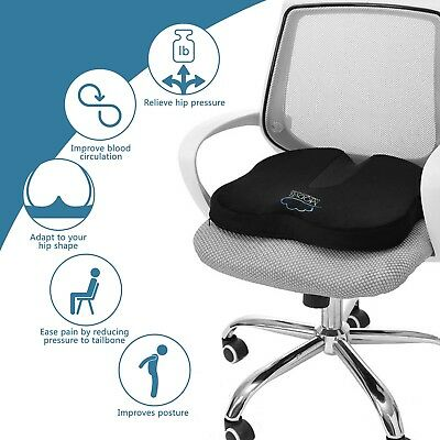 Seat Cushion Large Back Tailbone Pain Orthopedic Gel Memory Foam Coccyx Sciatica