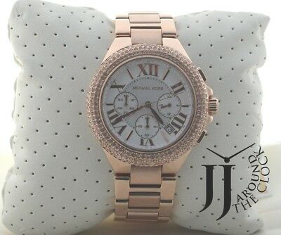 620f0d7adc93 New Michael Kors Ladies Large Camille Rose Gold Chronograph Glitz Watch  MK5636