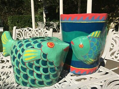 Coastal Nautical Tissue and Waste Can Set Art Hand Painted Fish Design.SALE