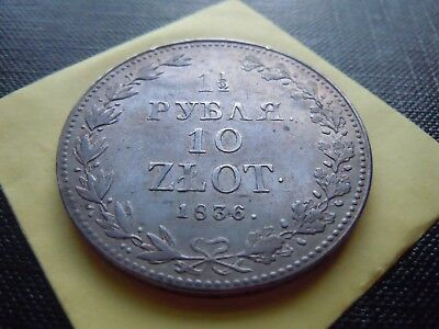 Russia-Poland Silver 1,5 Roubles/10 Zlot 1836 Mw Scarce High Grade Nice Collecti
