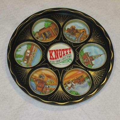 VINTAGE TIN  Metal TRAY KNOTTS BERRY FARM Ghost Town MOLDED CUP HOLDERS