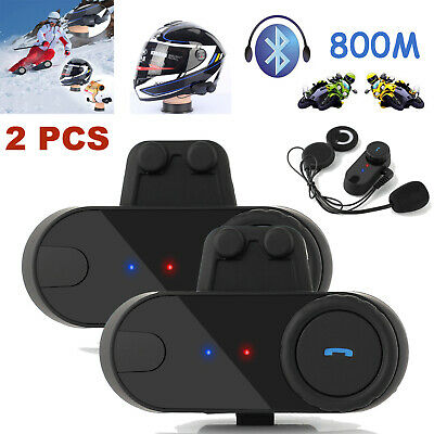 2X BT 800M Interphone Bluetooth Motorbike Motorcycle Helmet Intercom FM Headset