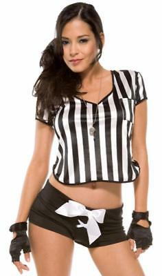2593587ce9ff79 Sexy Referee Costume Striped Crop Top Shorts Whistle Gloves Set 550013 M L