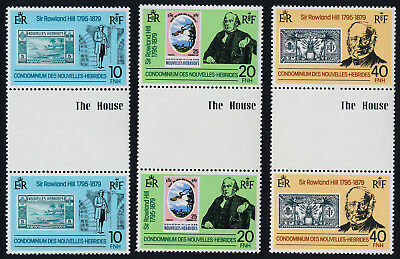 New Hebrides Fr 285-7 gutter pairs MNH Rowland Hill, Stamp on Stamp