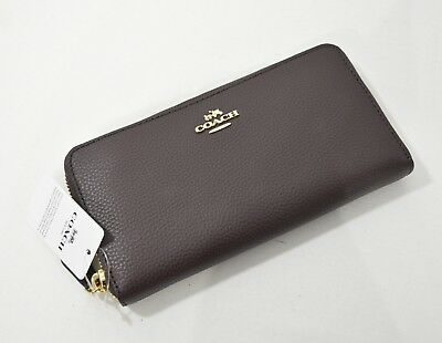 NWT Coach F16612 Leather Accordion Zip Around Wallet in Oxblood