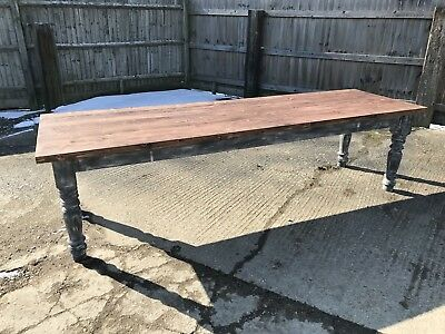 300cm Long, Antique, Pine, French Farm Table, Vintage, Original Paint, Refectory