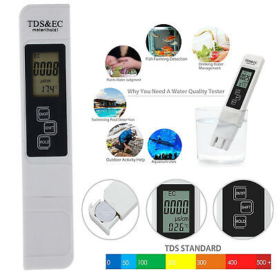 Portable Digital TDS EC Water Quality Tester TEMP Meter Filter Purity Pen Stick