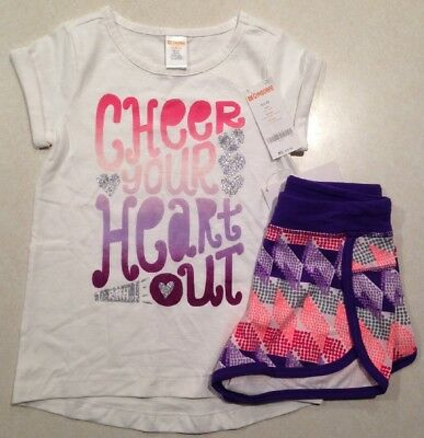 Gymboree Girls Outfit Short Sleeve Cheer T Shirt Active Shorts Size S 5-6 NWT