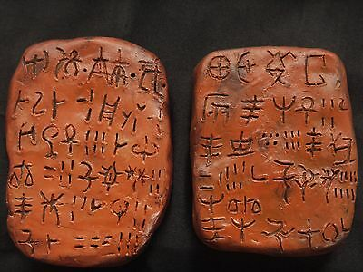 PAIR OF CRETAN LINEAR A TABLETS replicas Crete Minoan Greece Bronze Age