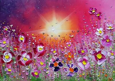 """""""Sunset Meadow Flowers"""", a large colourful, original oil painting, by Phil Broad"""