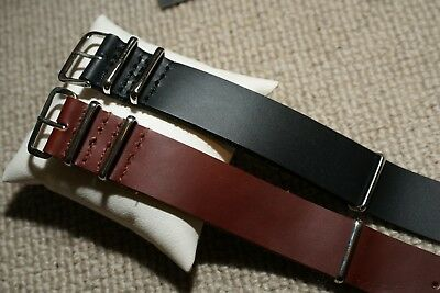 NATO G10 Genuine Leather British Military MOD Watch Strap 18-22mm 4Rings