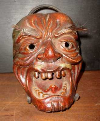 Antique Very Rare Edo Period Mid 19Th Century Japanese Old Man Demon Mask
