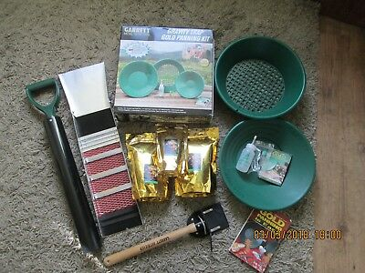 Garrett Gold Panning Kit Back pack Sluice Box Hand Dredge pump 3 x Bags Pay Dirt